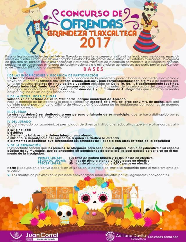 Convocan legisladores federales del PAN al concurso de ofrendas Grandeza Tlaxcalteca