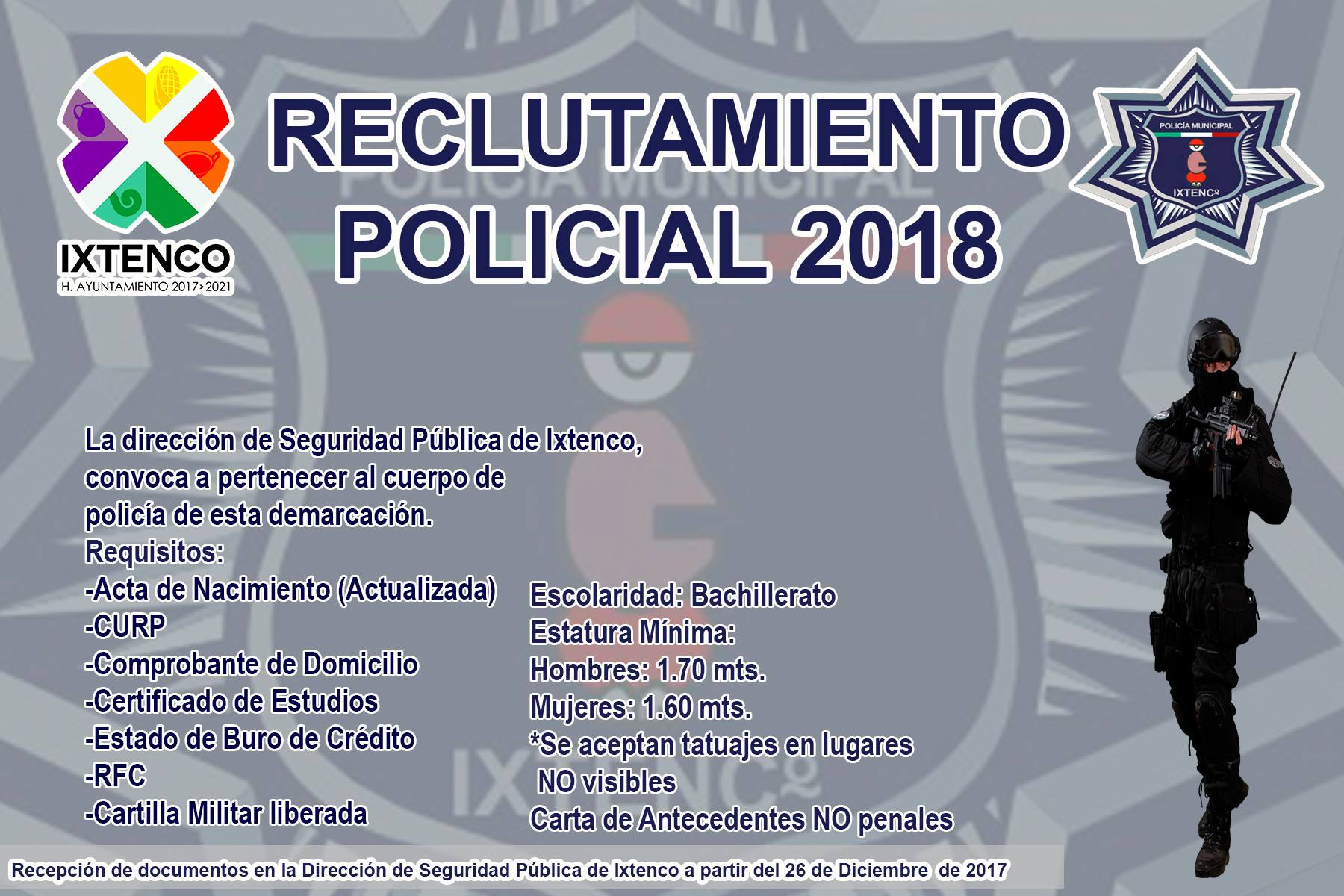 Abren convocatoria para ingresar a la Policía Municipal de Ixtenco