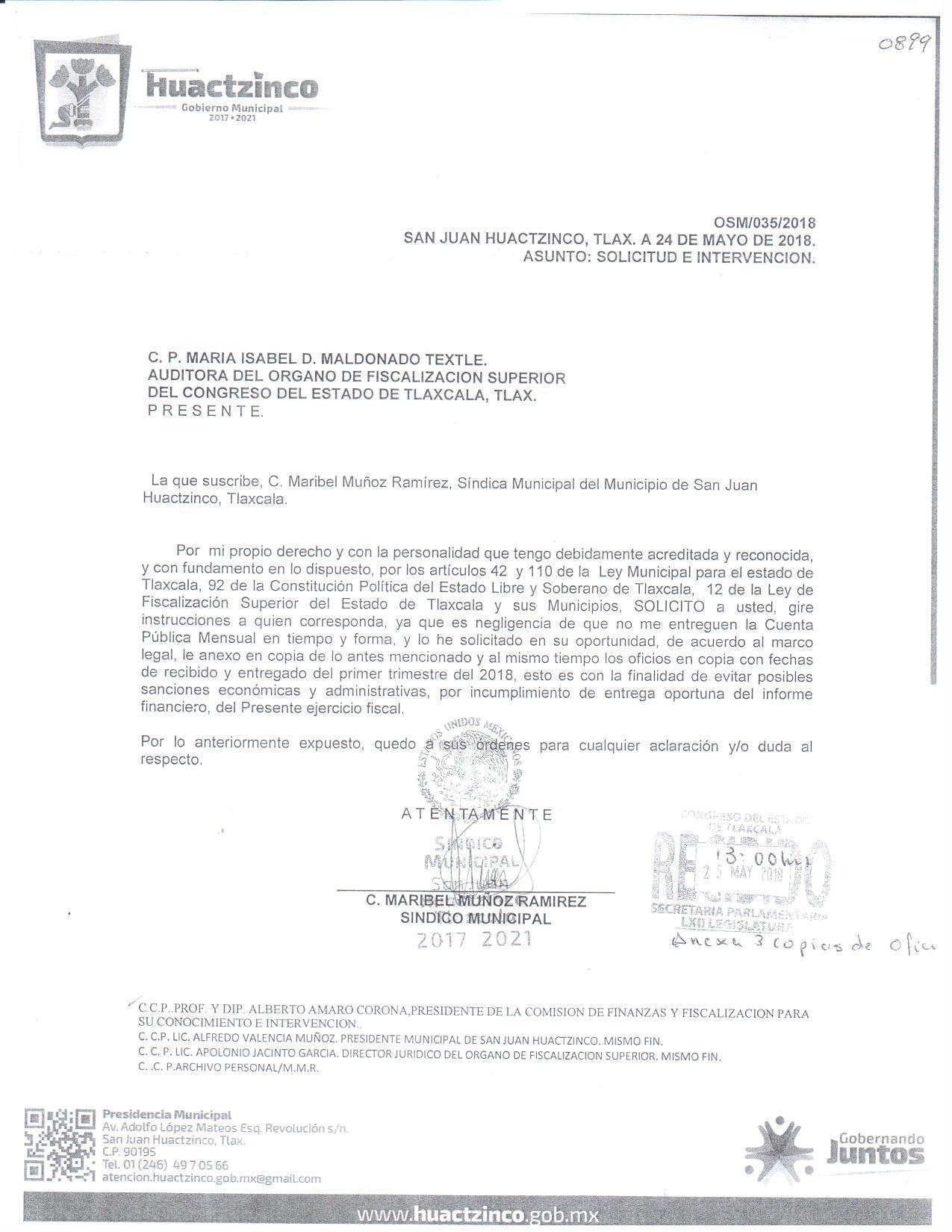 Desconoce síndico de Huactzinco cuenta pública del primer trimestre 2018