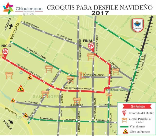 Habrá cierre de calles por Desfile Navideño en Santa Ana Chiautempan