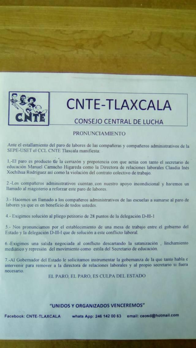 La CNTE sí apoya a personal de apoyo en su lucha