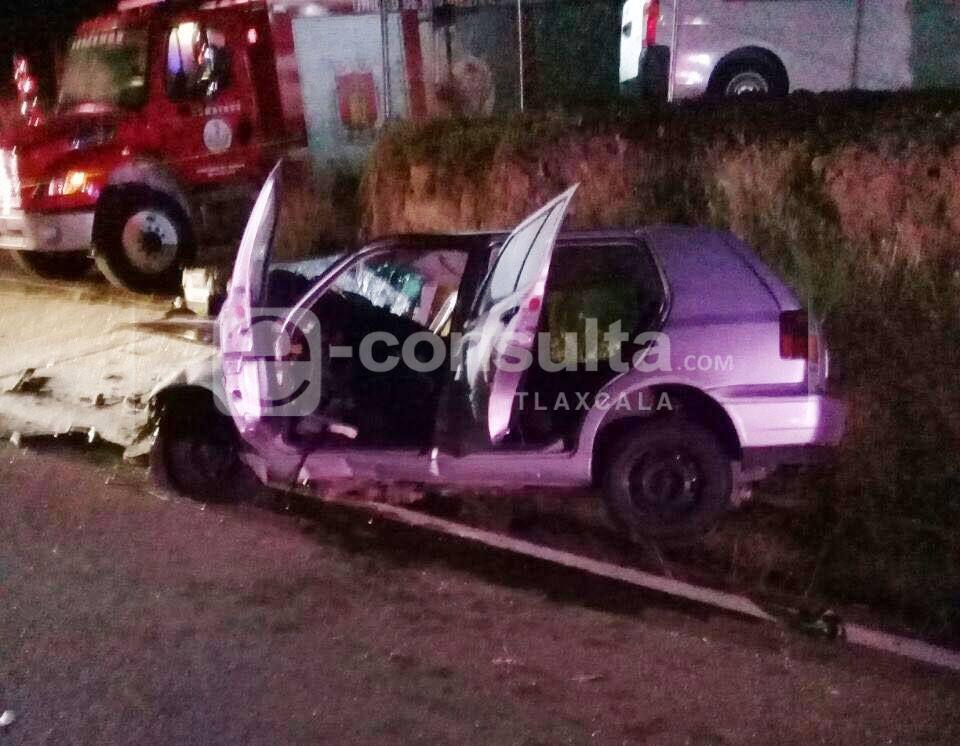 Prensado, murió un hombre al chocar en la Apizaco - Tlaxcala