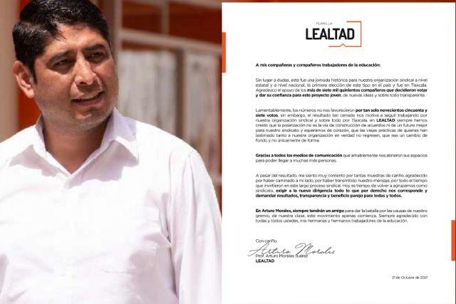 Arturo Morales admite que los resultados no lo favorecieron en el SNTE