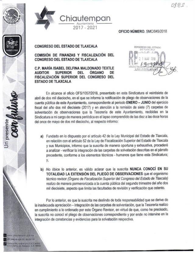 Acusa síndico a alcalde de Chiautempan por presuntas irregularidades