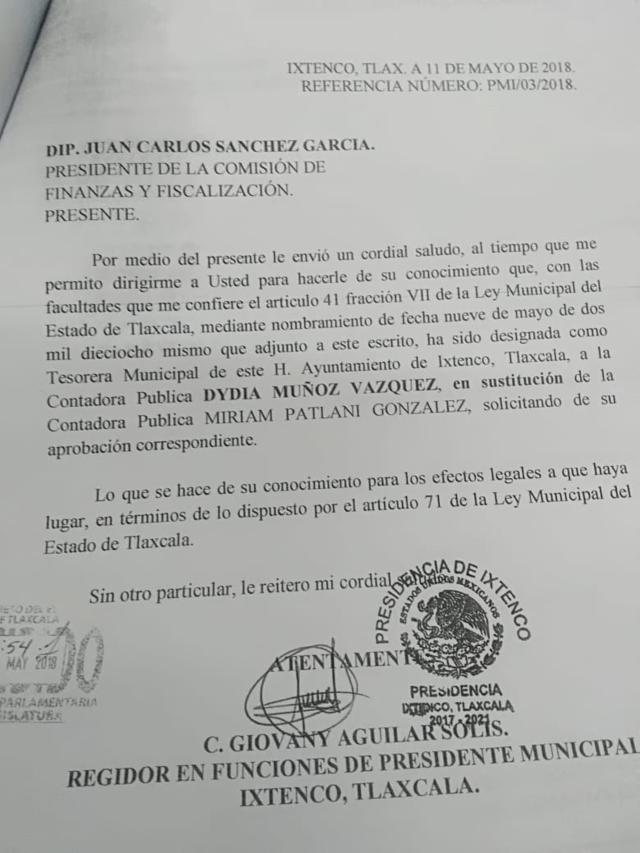 Alcalde suplente de Ixtenco designa nueva tesorera