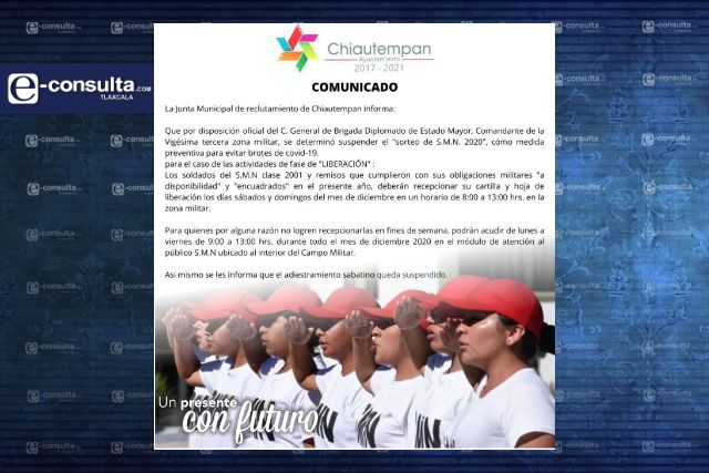 Suspenden en Chiautempan el sorteo de Servicio Militar Nacional