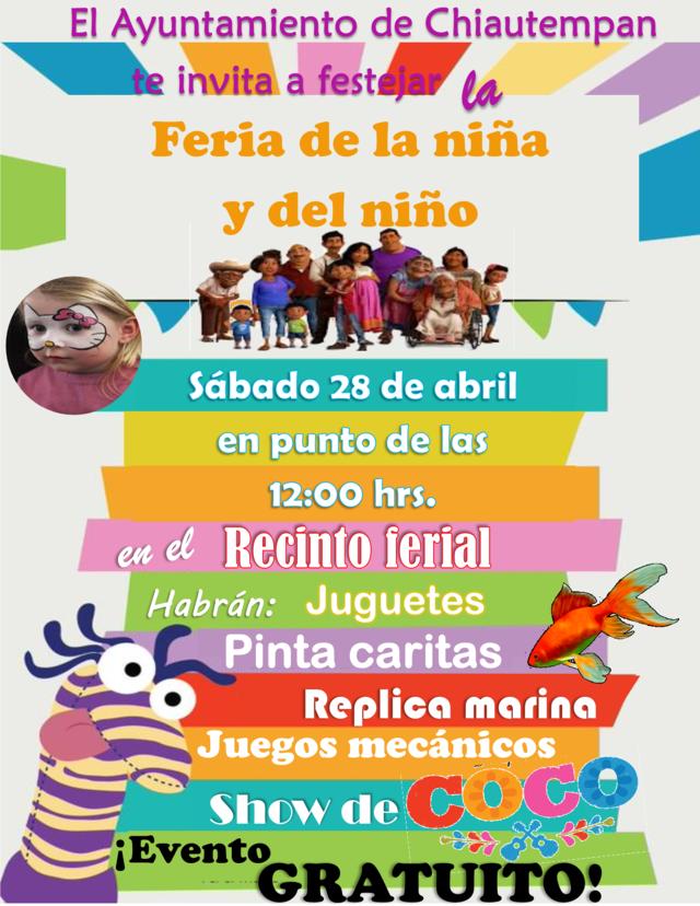 Invita Ayuntamiento de Chiautempan a la Feria del Día del Niño y la Niña