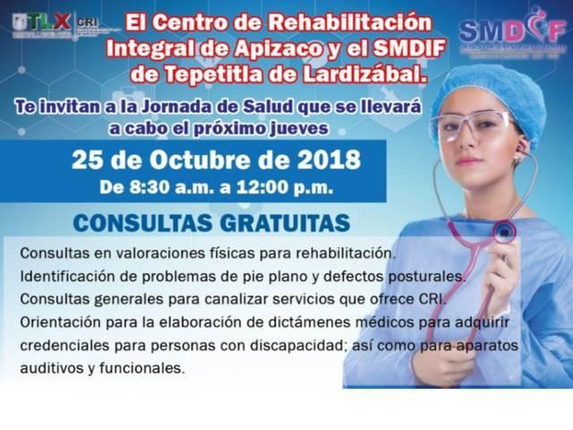 SMDIF de Tepetitla y CRI Apizaco invitan a Jornada de Salud