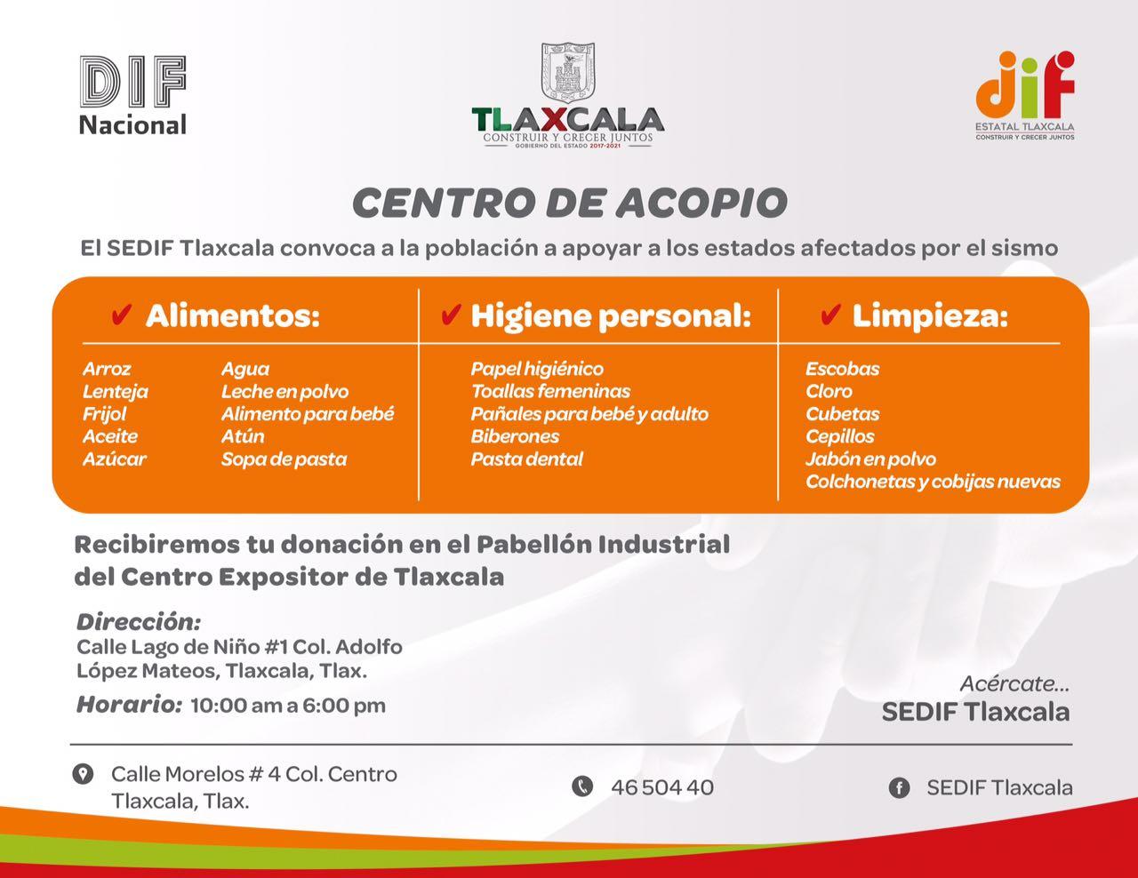 Abre DIF Estatal Centro de Acopio en Tlaxcala