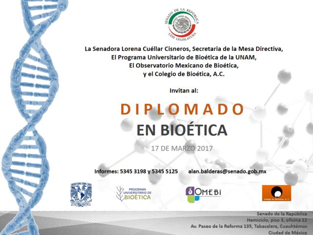 El próximo viernes 17 de Marzo dará inicio el diplomado en bioética