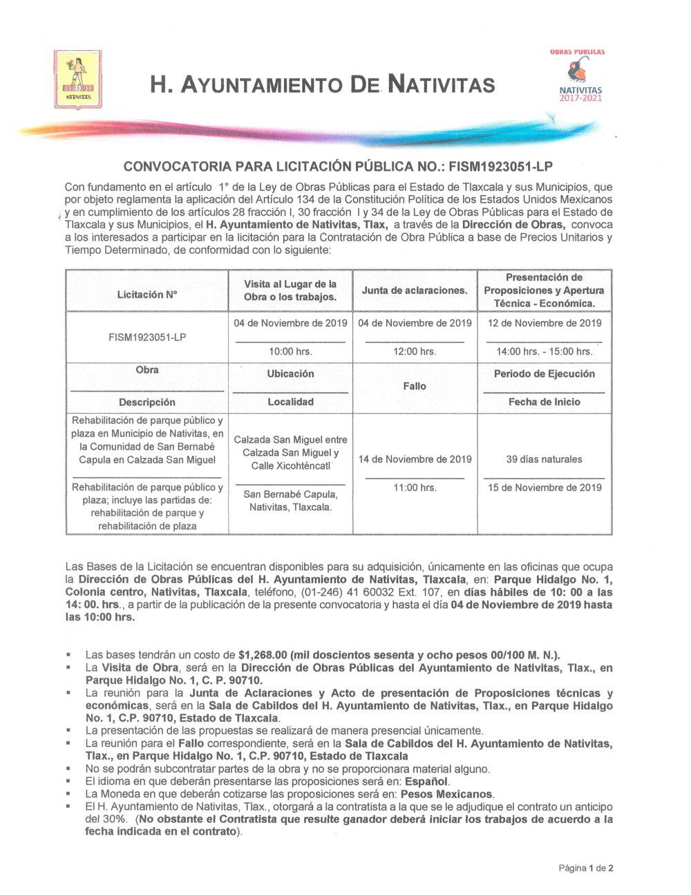 Convocatoria para licitación pública No. FISM1923051-LP en Nativitas