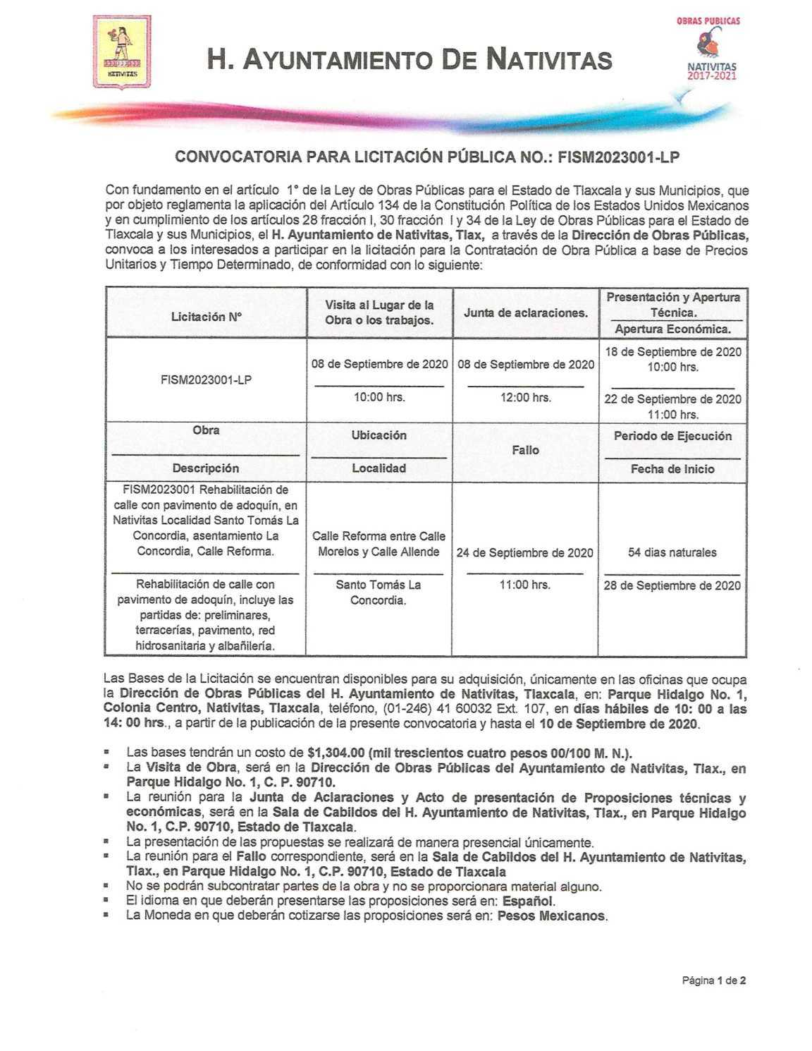 Nativitas lanza convocatoria para licitación de obra publica