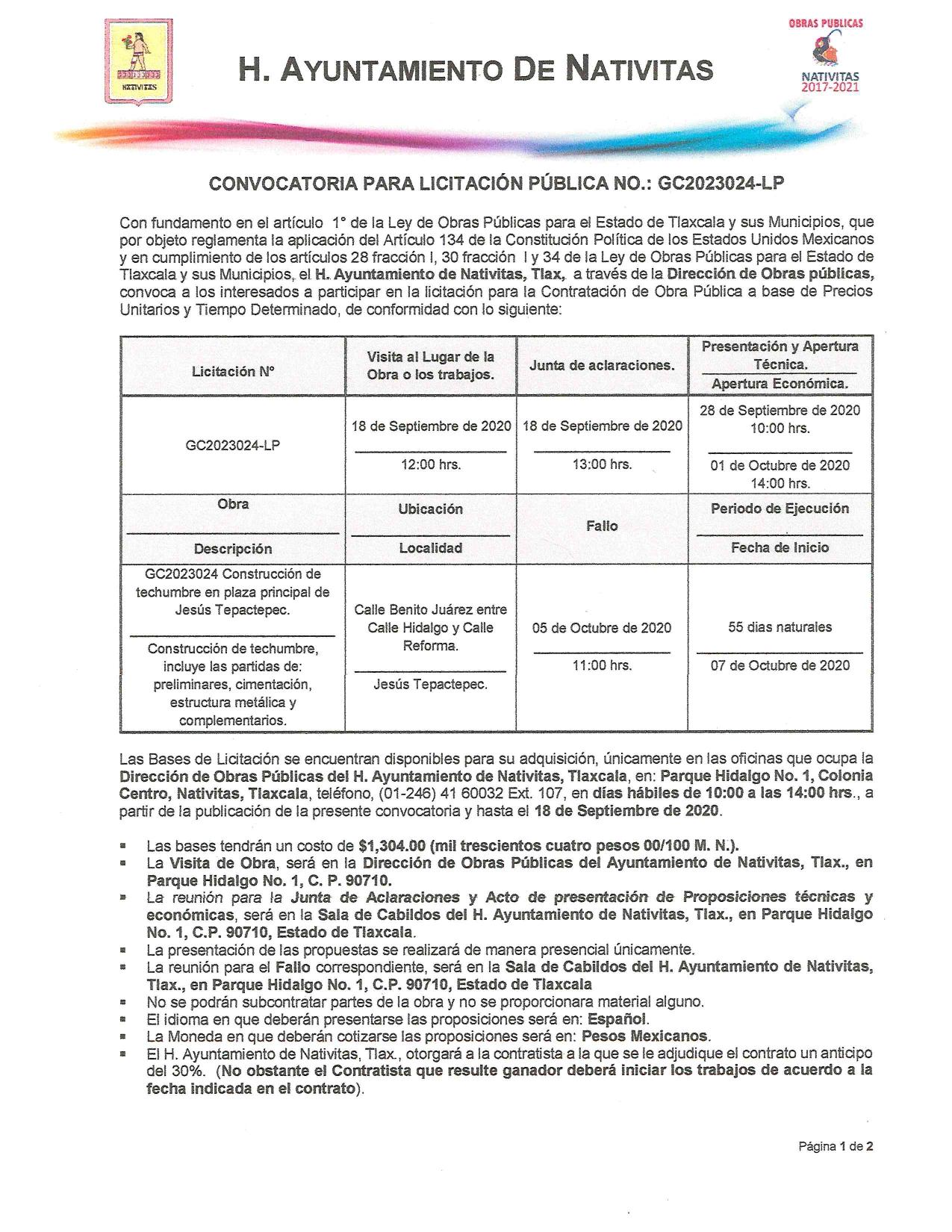 Ayuntamiento de Nativitas publica licitación de obra pública