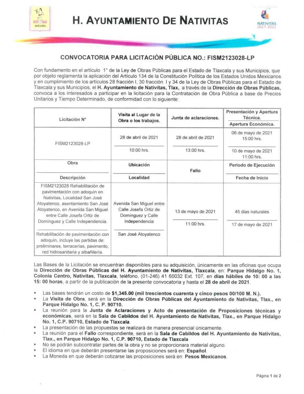 El Ayuntamiento de Nativitas lanza licitación para la rehabilitación de pavimento