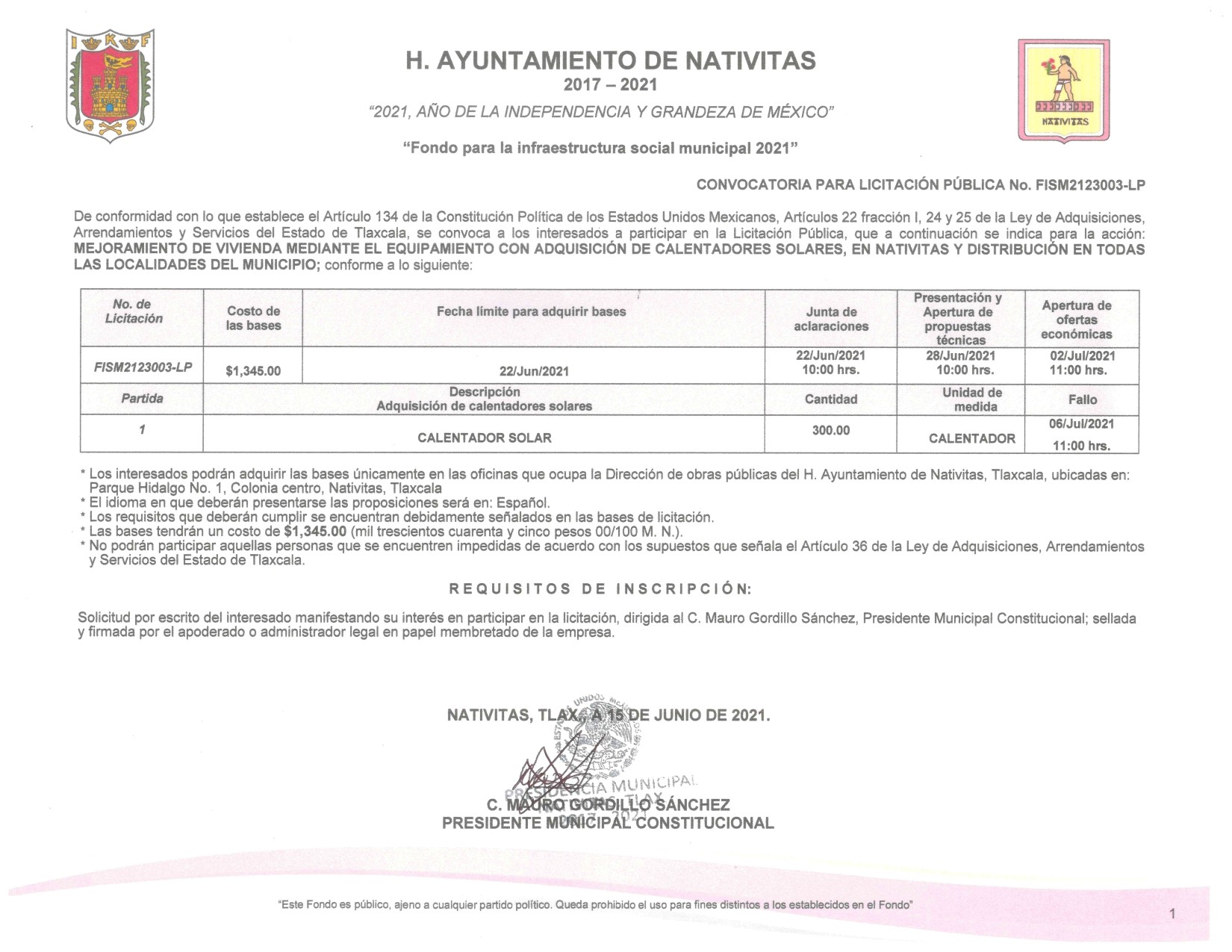 Ayuntamiento de Nativitas publica licitación para adquisición de calentadores solares