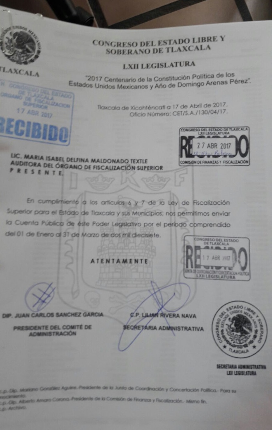 Entrega Poder Legislativo cuenta pública ante el OFS