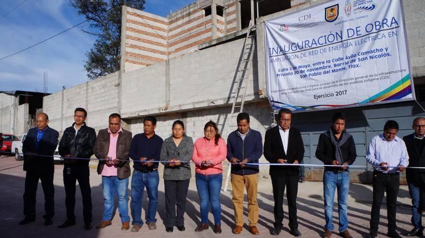 Edil entrega ampliación de red de energía eléctrica en San Pablo del Monte