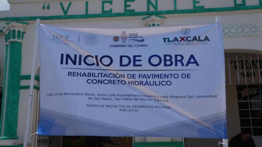 Inician obra de rehabilitación en Calle 20 de Noviembre, San Pablo del Monte