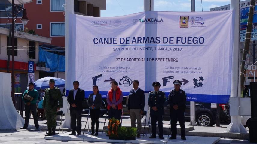 Inician canje de armas de fuego en San Pablo Del Monte