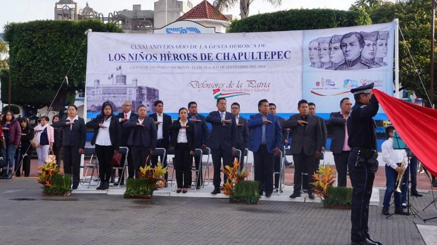 Alcalde Cutberto Cano, conmemora la gesta heroica de los Niños Heroes De Chapultepec