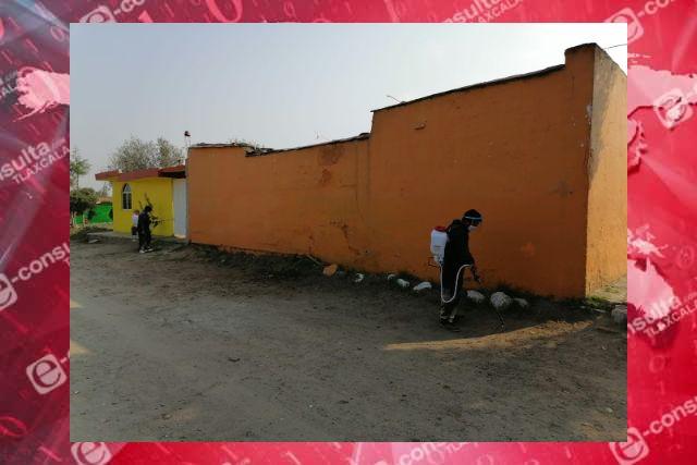 Personal del Ayuntamiento De Santa Cruz Tlaxcala continúa con labores de sanitización