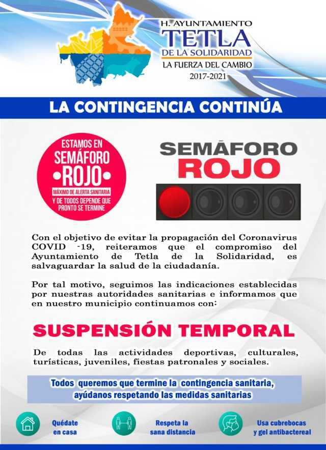Tetla, se mantiene con medidas sanitarias ante semáforo en rojo por Covid 19