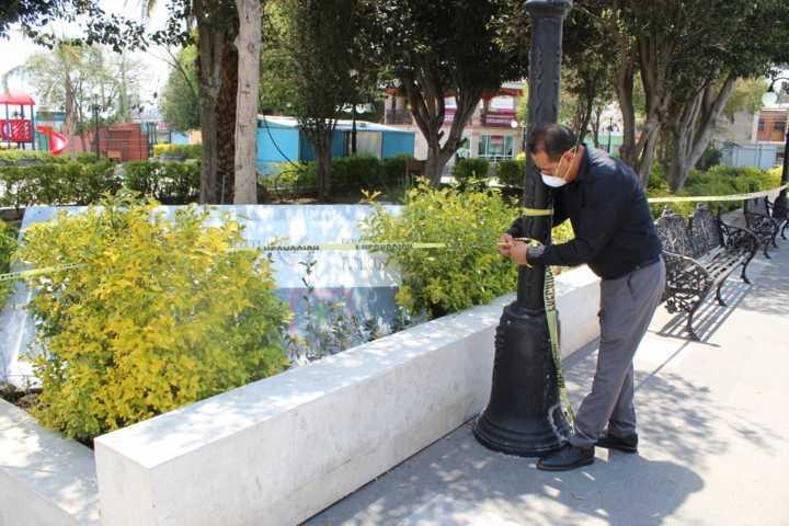 Acordonan plaza central de Xiloxoxtla para evitar contagios de Covid-19