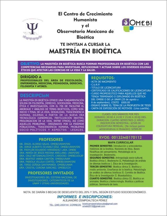 Observatorio Mexicano de Bioética organiza primera Maestría de Bioética en la región