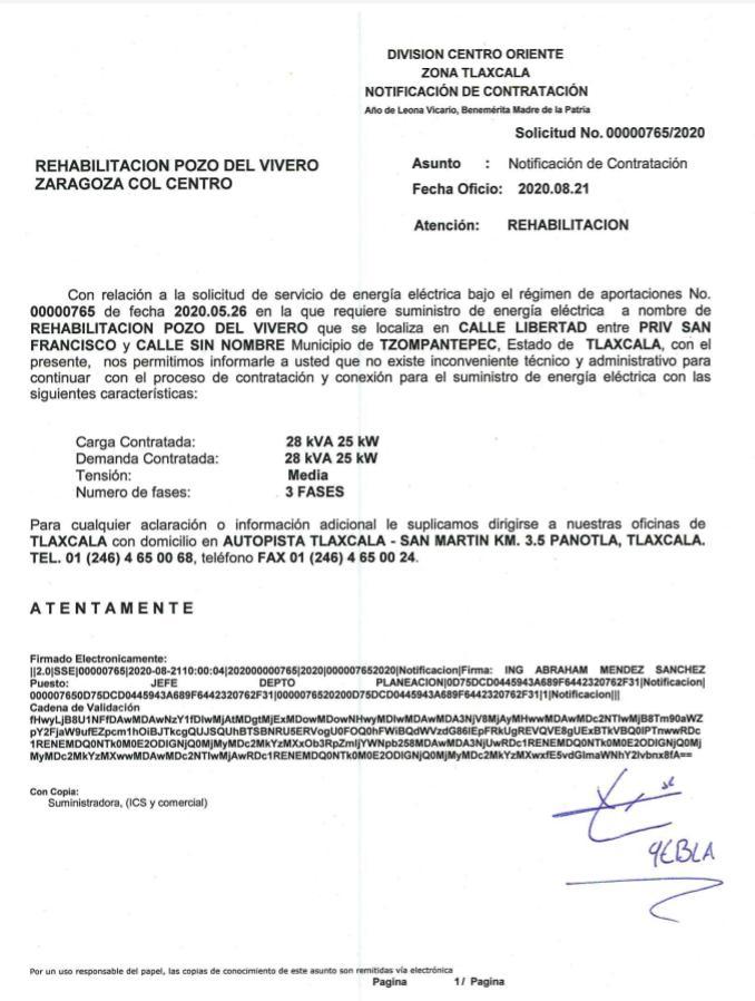 Gobierno de Tzompantepec Concluyó Trámite Para Funcionamiento De Pozo En Ahuashuatepec