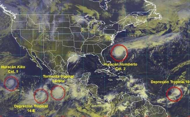 La tormenta tropical Lorena se localizó a 345 kilómetros al sur de Zihuatanejo, Guerrero