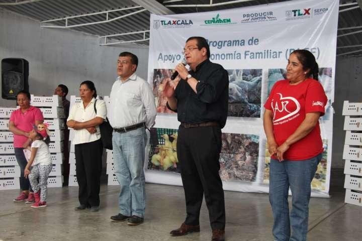 Gobierno estatal y municipal entregan 3 mil aves de traspatio a familias huamantlecas