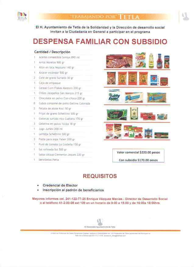 "Tetla ponen en marcha programa ""Despensa Familiar con Subsidio"""