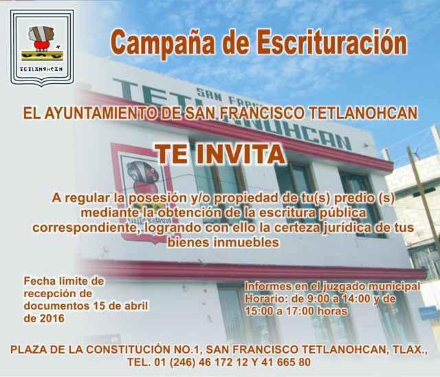 Invita Tetlanohcan a campaña de escrituración