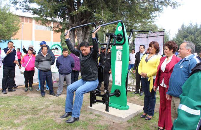 Inaugura alcalde un cuarto gimnasio al aire libre en Huamantla
