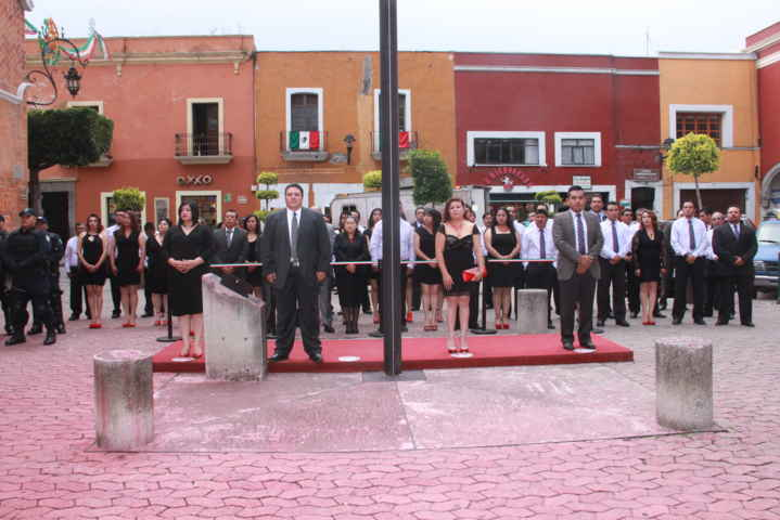 Tecopilco realiza homenaje cívico por mes patrio Arrían Bandera