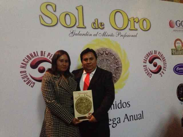 """Sánchez Tlapapal fue galardonado con el """"Sol de Oro"""""""