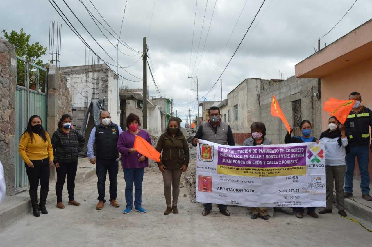 Inicia obra de Pavimento Hidráulico en calle 3 Norte de Ixtenco