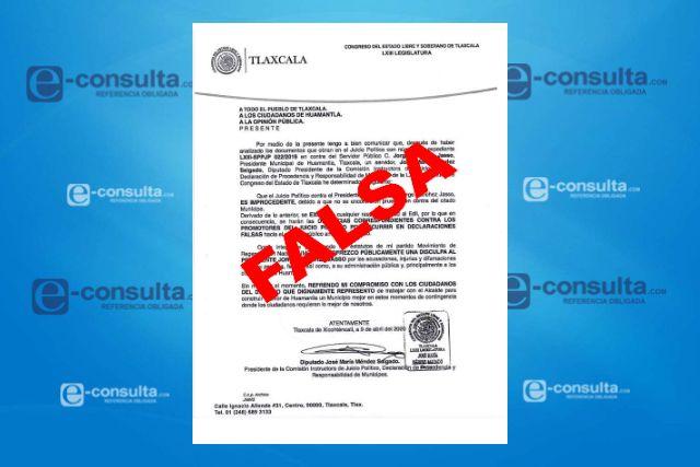 Carece de veracidad culminación de juicio político contra alcalde de huamantla: Congreso