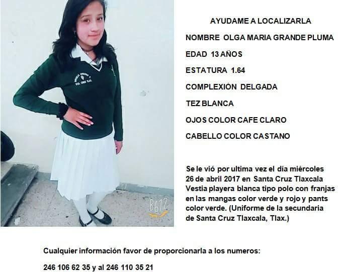 Desaparece menor de 13 años en Santa Cruz Tlaxcala