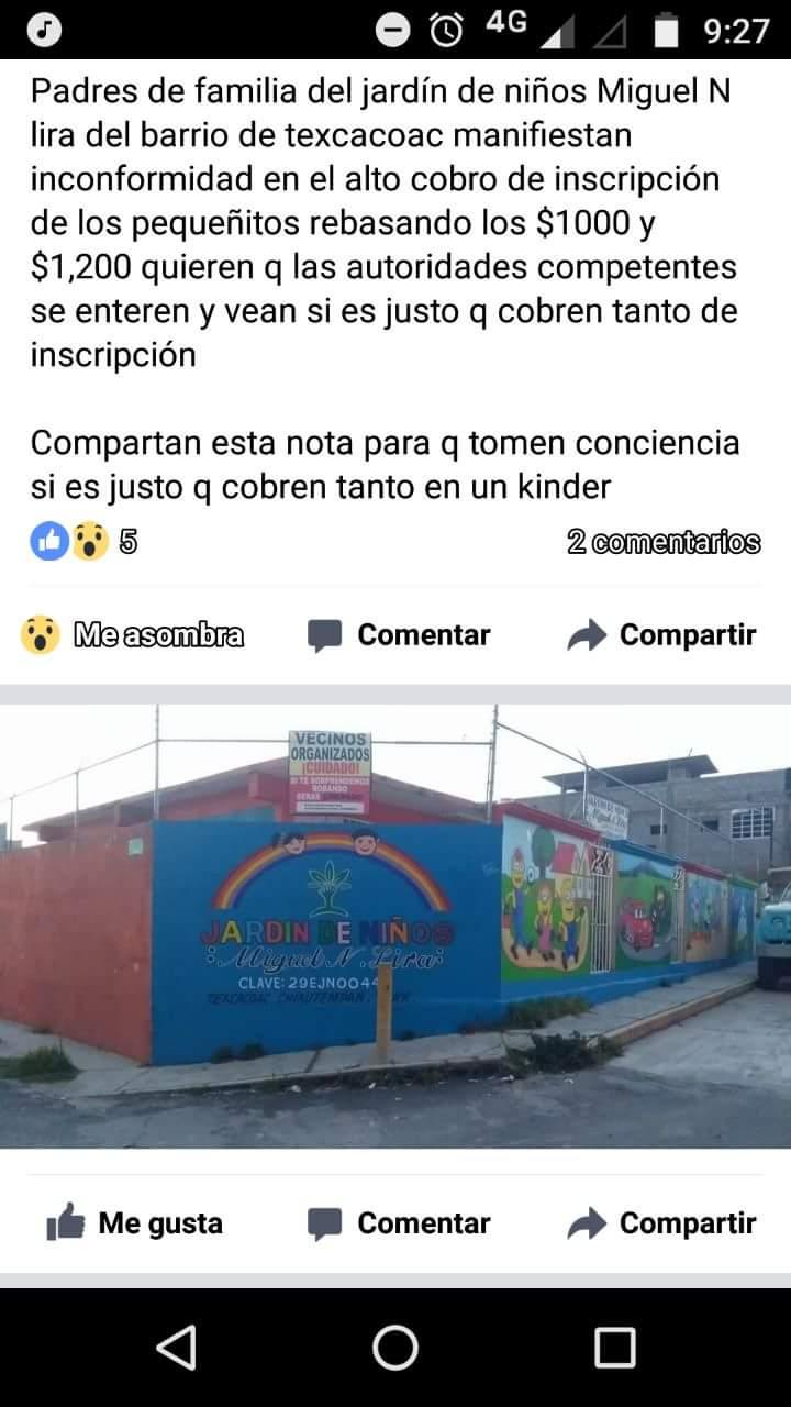 Más del mil pesos un lugar en un Jardín de Niños en Chiautempan
