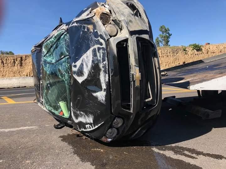 Fuerte volcadura deja un lesionado en el libramiento a Tlaxcala