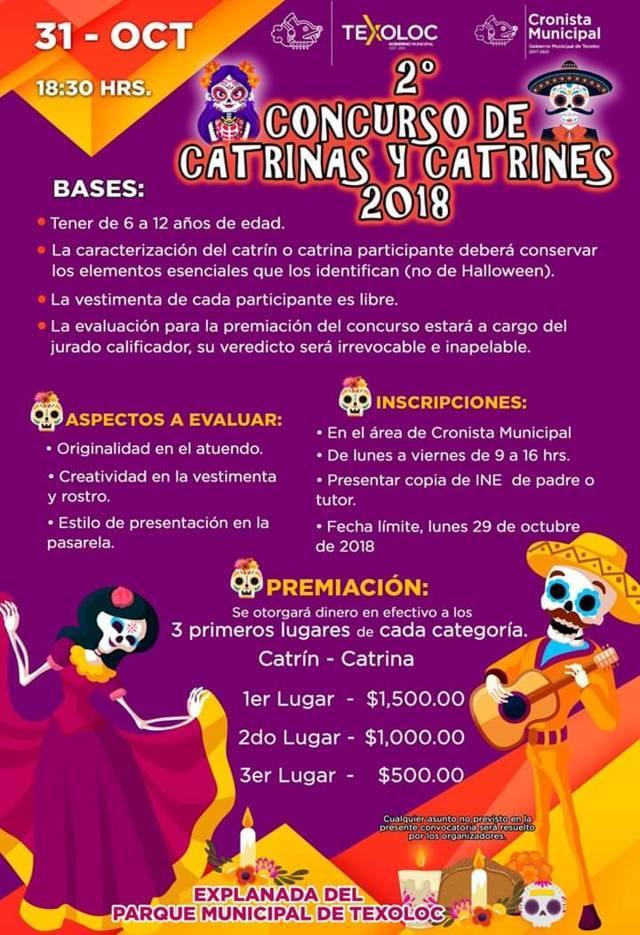 Texoloc tendrá su 2º Concurso de catrinas y catrines 2018