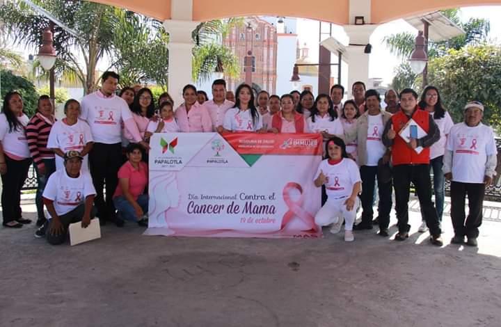 Realizan en Papalotla conmemoración del mes contra la del cáncer de mama
