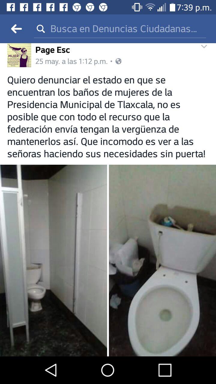 Vergüenza de sanitarios públicos en presidencia de Tlaxcala