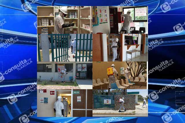 Gobierno de Papalotla sanitiza unidades de salud pública