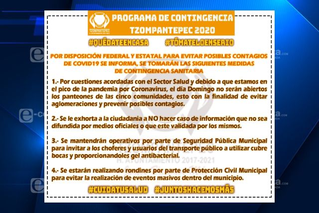 Gobierno de Tzompantepec redobla medidas preventivas ante contingencia sanitaria