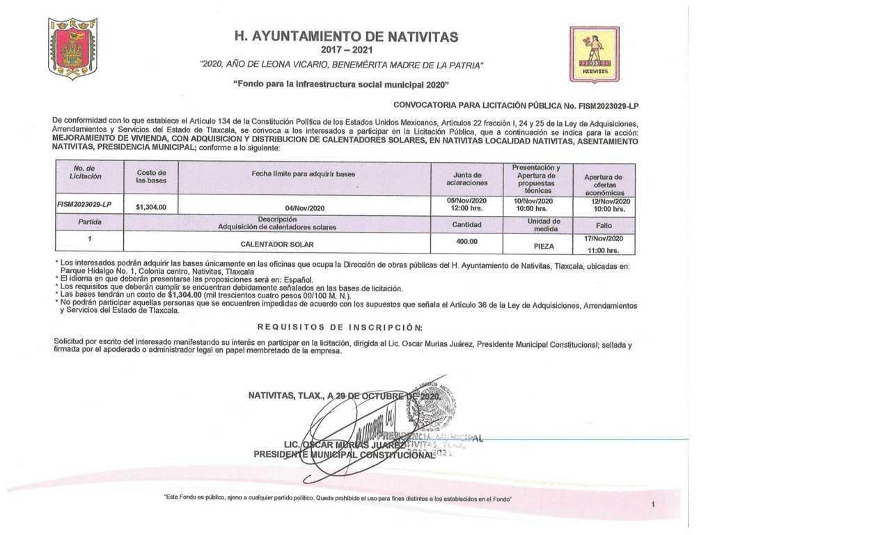 Gobierno de Nativitas emite convocatoria, exclusiva para proveedores