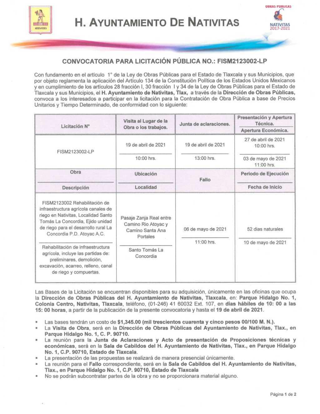 Convocatoria para licitación pública No. FISM2123002-LP en Nativitas