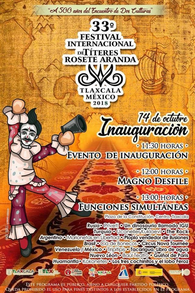 "Inicia este domingo edición 33 Del Festival Internacional De Títeres ""Rosete Aranda"""