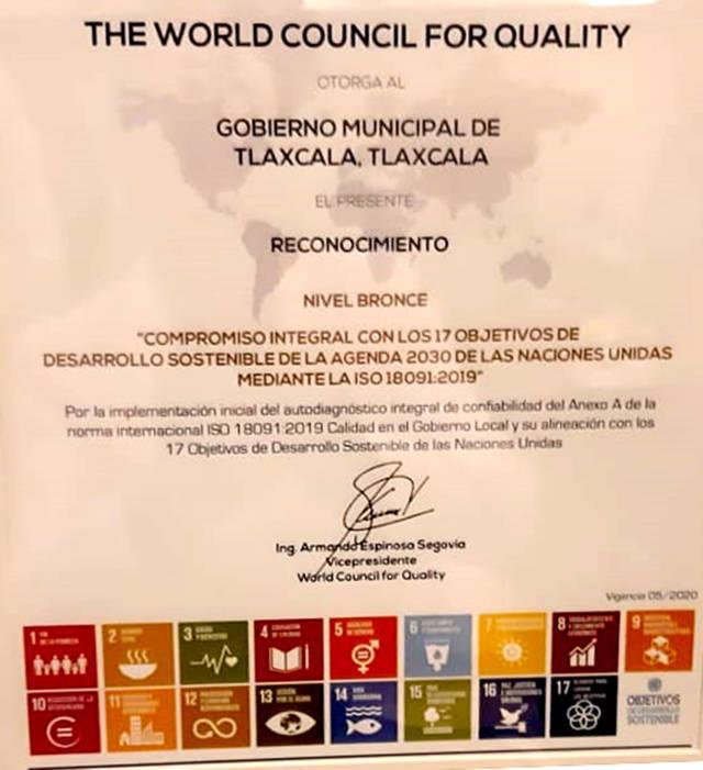 Reconoce Consejo Mundial de la Calidad a comuna de Tlaxcala